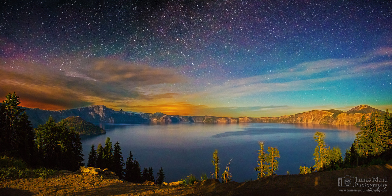 """Moonlit Auroras over Crater Lake,"" Crater Lake, Crater Lake National Park, Oregon"