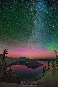 """The Magician's Prism,"" The Aurora Borealis, Andromeda Galaxy and Milky Way over Crater Lake, Crater Lake National Park, Oregon"