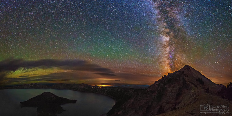 """Night Watchman,"" The Milky Way over Watchman Peak and Wizard Island, Crater Lake, Crater Lake National Park, Oregon"
