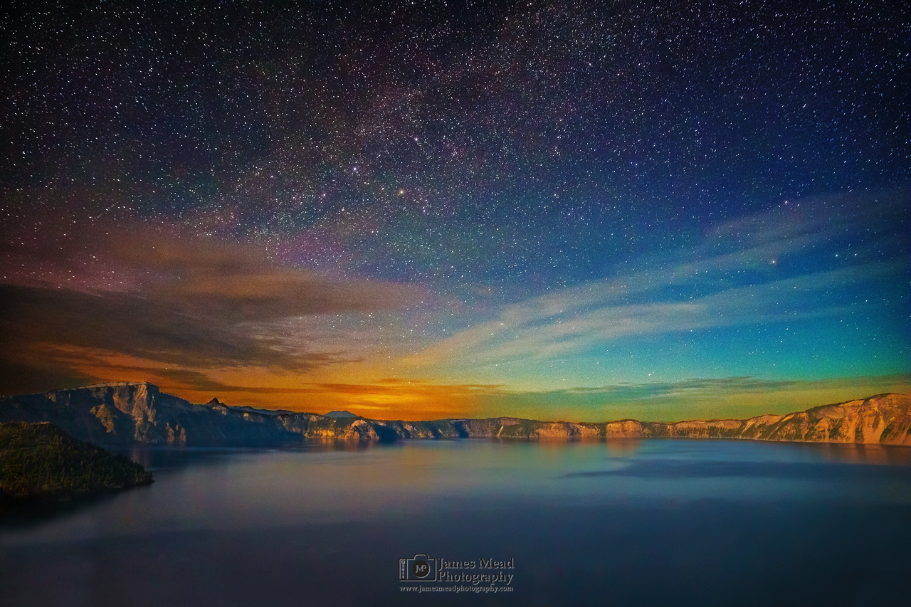 """Moonlit Milky Way Aurora over Crater Lake,"" Crater Lake National Park, Oregon"