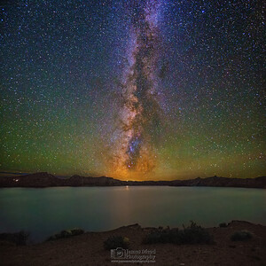 """Crater's Dream,"" The Milky Way over Cleetwood Cove and Crater Lake, Crater Lake, Crater Lake National Park, Oregon"