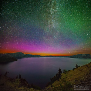 """The Magician's Cauldron,"" Aurora Borealis Glow on Crater Lake, Crater Lake National Park, Oregon"