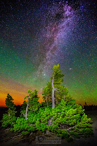 """Wizard's Night,"" The color glow of the Aurora Borealis, Andromeda Galaxy and Milky Way over Whiteback Pines, Crater Lake, Crater Lake National Park, Oregon"