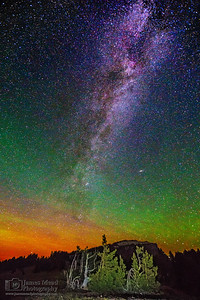 """Llao's Starlight,"" The Milky Way, Aurora Borealis and Andromeda Galaxy over Llao Rock, Crater Lake National Park, Oregon"
