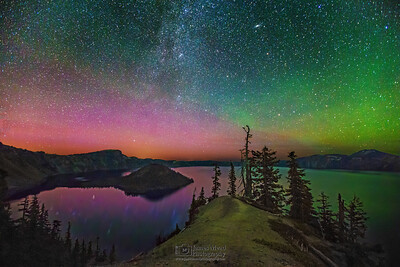 """Night Magic,"" The Aurora Borealis, Andromeda Galaxy and Milky Way over Crater Lake and Fumarole Bay, Crater Lake National Park, Oregon"