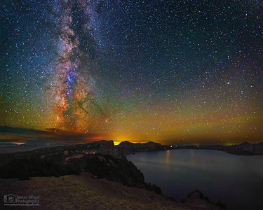 """Shimmering Brilliance,"" The Milky Way over Cloudcap Bay and Crater Lake, Crater Lake National Park, Oregon"