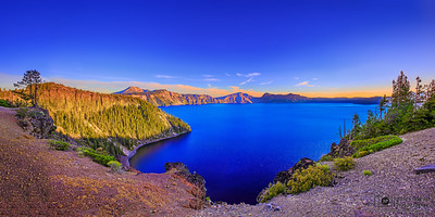 """Sapphire Summer,"" Crater Lake and Cleetwood Cove in the Summer, Crater Lake, Crater Lake National Park, Oregon"