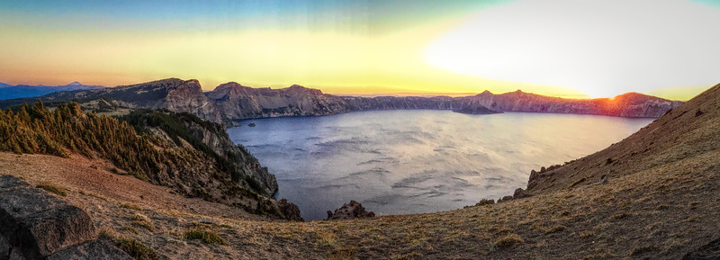 Crater Lake landscape at sunset
