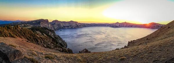 Crater Lake landscape at sunset