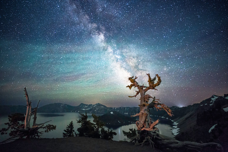 Milky Way Highlighted Under Milky Way at Crater Lake
