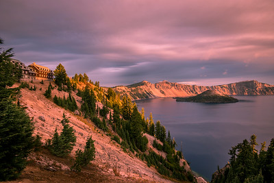 Sunrise on Wizard Island at Crater Lake National Park, in southern Oregon