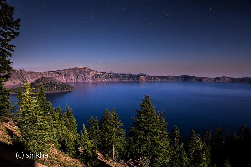Crater lake in moonlight