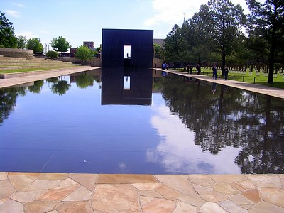 This water feature sits where the road in front of the Alfred P. Murrah Federal Building once stood.
