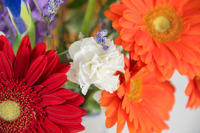 White Carnation with Gerbera Daisies