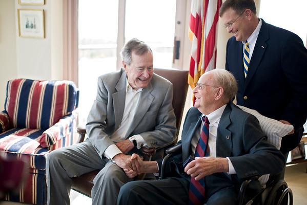 Blaine, 90, meets George Bush, Sr. in Houston, TX.