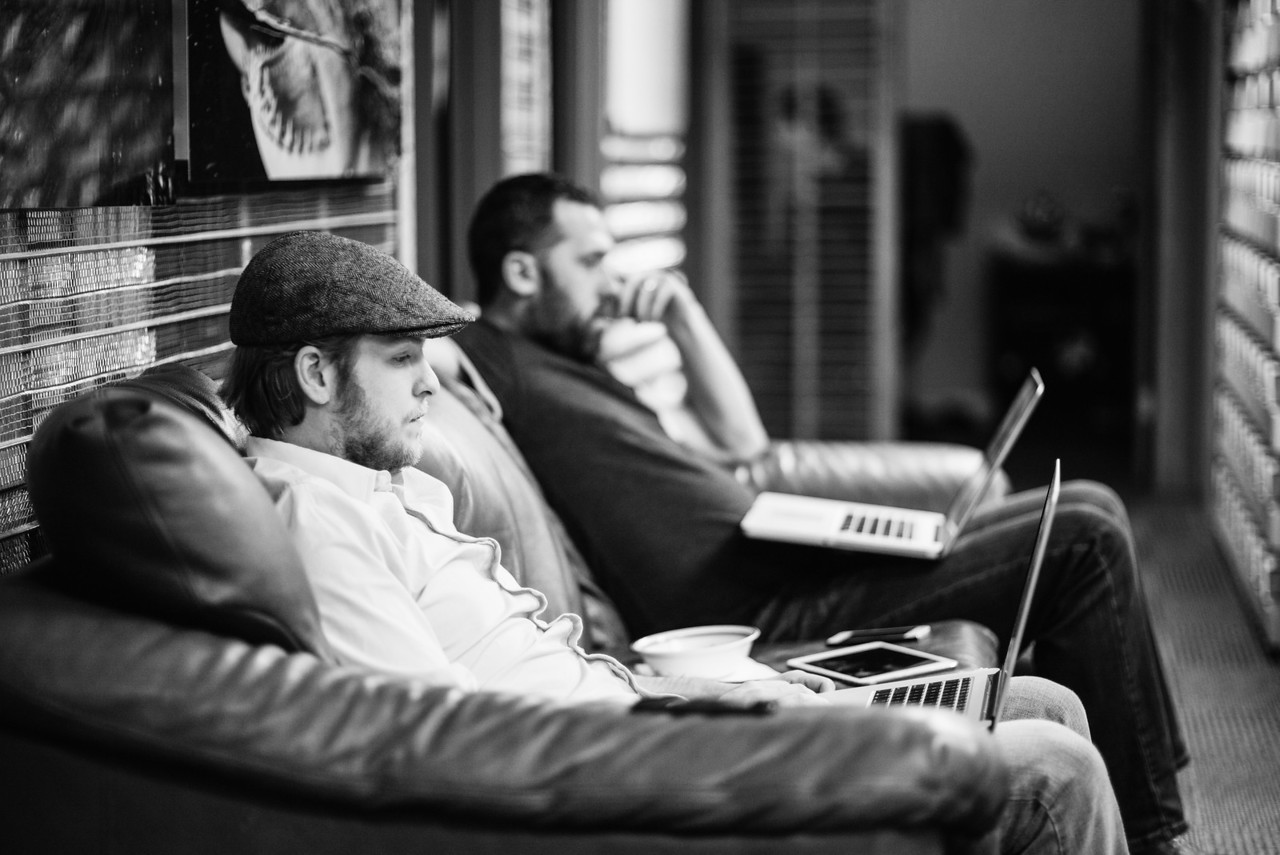 7 days until launch. Another late night. Evan Deffley and Eric Petruno have decamped from their regular offices to stay close to the Sorcerers. Software bugs need to be found and fixed quickly as we charge forward to launch day.