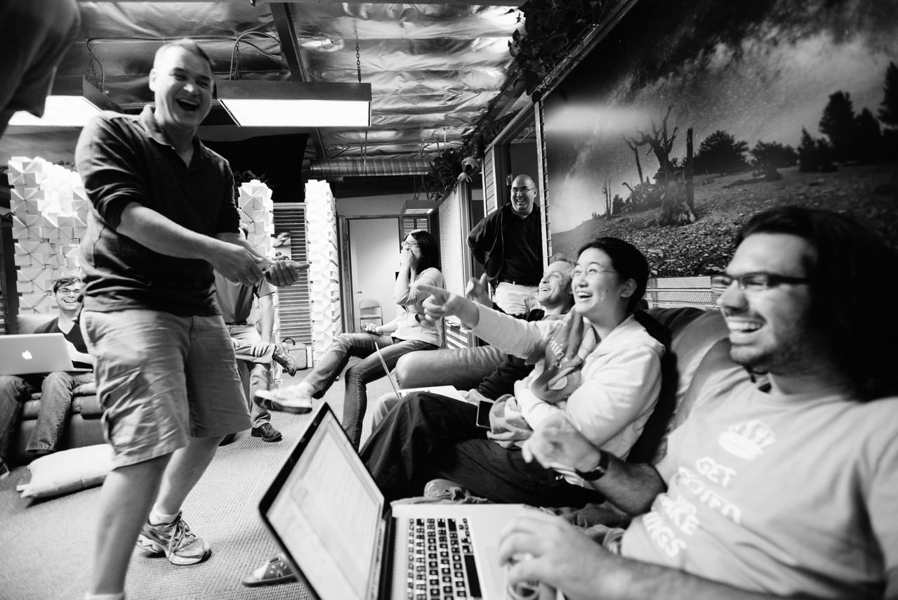 25 hours until launch. Sean Rogan breaks the tension with a joke. Pictured L-R: Intern Sid Grabosky, Sean Rogan, Iria Tam, Julian Jaramillo, Evan Deffley, Emily Chen, Angelo DiNardi.