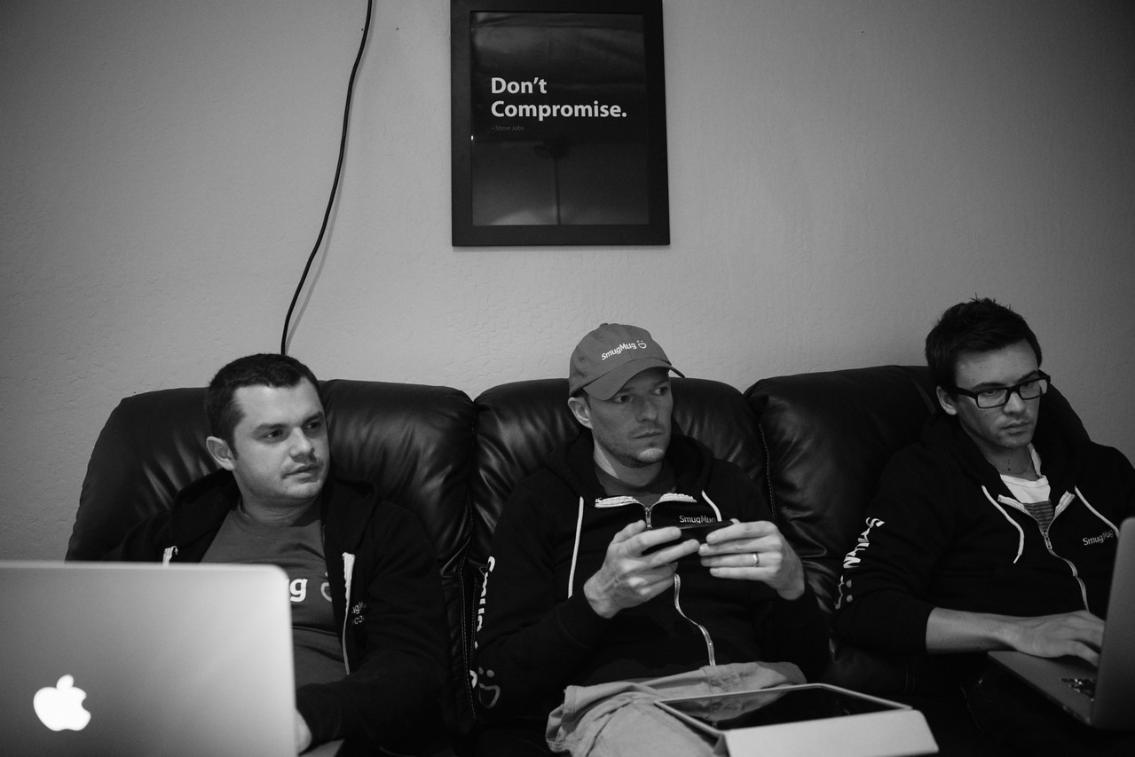 2 days until launch. No compromises from this team. Pictured L-R: Design Director Vilen Rodeski, Chief Geek Don MacAskill and Lead Sorcerer Brian Strong.