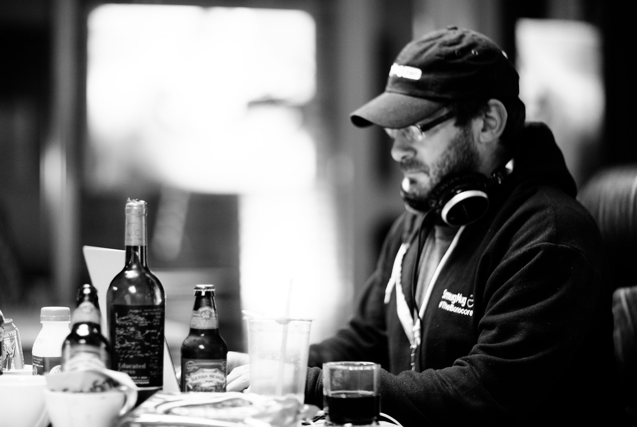 2 days until launch. Social Butterfly Michael Bonocore makes sure he's plenty hydrated.