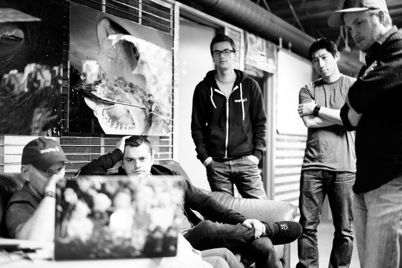 11 days until launch. Chris, Vilen, Brian, Yuping and Evan huddle together deep in thought.