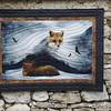 """""""Frosty fox"""" pour P.H.<br> Création personnelle, méthode contemporaine.<br> Cousu machine, matelassé à la machine, 125 x 90 cm, mars 2017."""