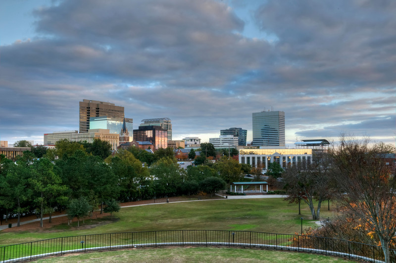 Columbia, SC skyline from Finlay Park at dusk, HDR<br /> © Sparkle Clark