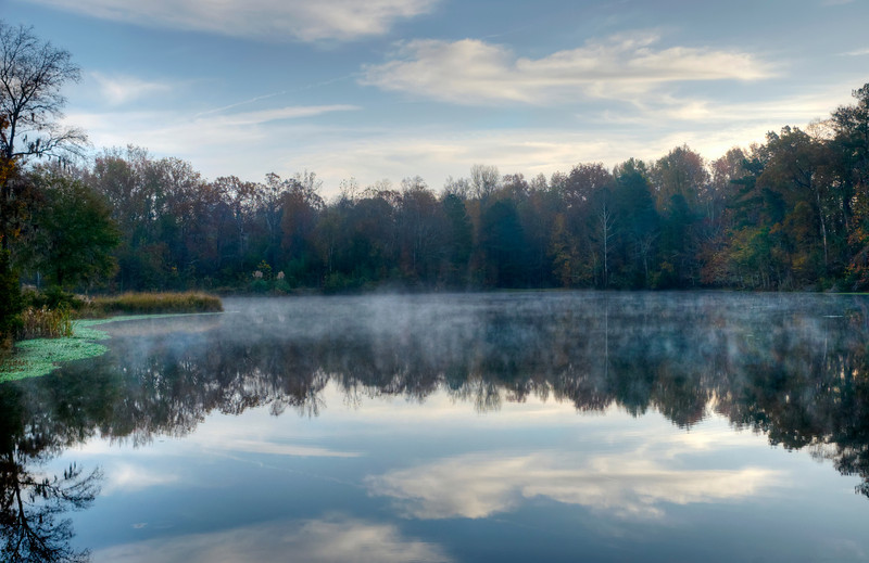 Pond Reflection in early morning fog in November<br /> in HDR<br /> © Sparkle Clark
