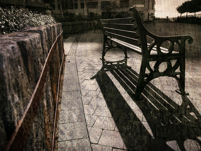 A park bench in Gibraltar seen as an artistic textural representation through blended photographic forms. All images are available to view in Hi-res or purchase under specific licence agreements from http://corephotographygibraltar.com/gallery/Fine-Art-Images/G0000rx7jQQgo3QQ/C0000mU4dcohCnHY