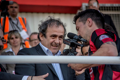 Lincoln Red Imps completed a triple affirming their place as the leading football team in Gibraltar after beating College 1-0 in the Rock Cup Final at Victoira Stadium, the first since Gibraltar joined UEFA. The match was presided by UEFA president Michel Platini who presented the trophy to Lincoln. They will now play in the European Champions League Qualifiers. All Images available for purchase from http://corephotographygibraltar.com News-Stock Collection as Hi-Res digital downloads and prints for both Editorial and Personal Use. Or contact stephen.ignacio@core-photos.com for further details on how to obtain.