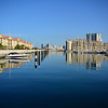 Queensway Quay Marina in Gibraltar with twon house and apartments. Marina berths and moorings.