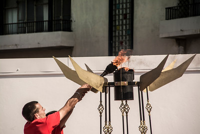 Marvin who has recently been the Special Olympics goalkeeper lit the torch to start the Gibraltar Special Olypmics Games.