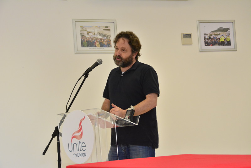 Unite General Secretary Len McCluskey signs IRTUC between Gibraltar and Spanish Unions