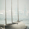 Sailing Yacht A drifting at anchor whilst under arrest in Gibraltar - Editorial Use Only