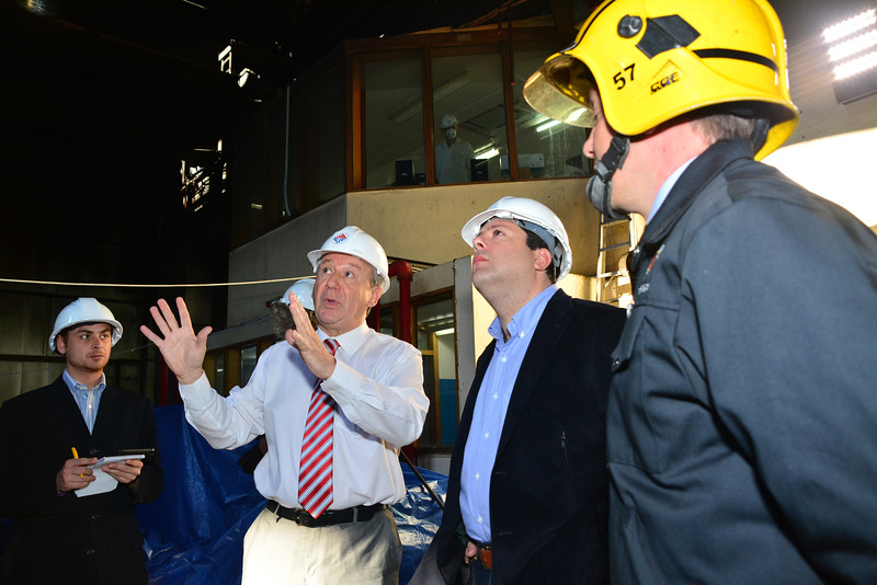 Chief Minister Fabian Picardo whilst being shown the interior of the fire damaged electrical power plant  Report - The Chief Minister of Gibraltar Fabian Picardo met with personnel from Gibelec electrical power station involved in a major fire last Sunday 21st April. During a visit to the power plant to inspect the extensive damage caused to the plant he spoke to workers away from the media.  The power plant is presently inactive, with only the control room operational, whilst a clean-up is undertaken by workers. The Chief Minister was briefed in person by workers who had witnessed the initial explosion which led to a total black out of Gibraltar during a period of six hours. During the visit four fire fighters who had been involved in extinguishing the fire from within the building were present, some meeting the workers for the first time since the explosion took place. All Images available for purchase from http://corephotographygibraltar.com News-Stock Collection as Hi-Res digital downloads and prints for both Editorial and Personal Use. Or contact stephen.ignacio@core-photos.com for further details on how to obtain.