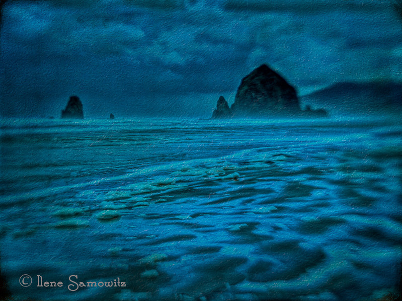 Haystack Rock with a Lensbaby