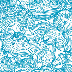 Waves and Curls Seamless Patterns