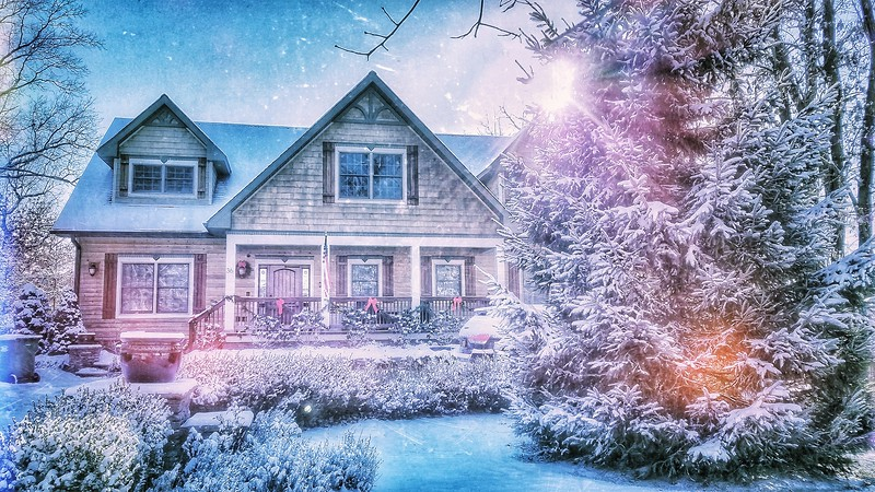 Snow Storm, December 14, 2017, Goshen, NY. Cozy little home. Shot with Samsung Mobile Galaxy S7, Edited with Snapseed