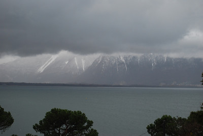 Montreux - view of cloud-covered lake & mountains