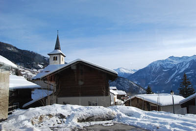 Snow-covered mountain, Leukerbad
