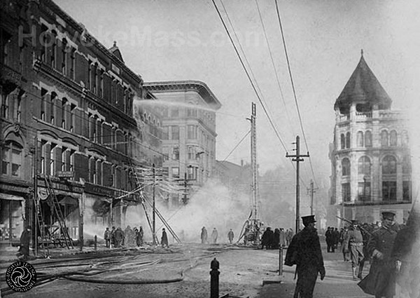 Postcard image of 1906 Fire in Holyoke, MA