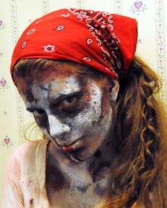 Heather, in various stages of make up & its removal, at home, during the running of Cranmore Mountain Resort's Ghoullog, Halloween seasonal haunt attraction. October 2011.