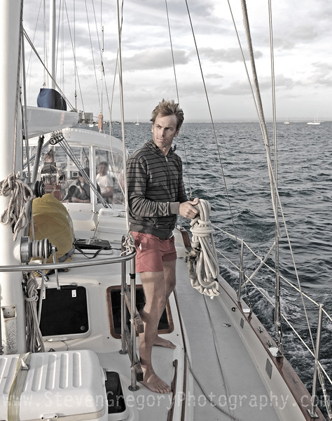 You can either stand on a sailboat and look into the camera and smile for a boring facebook post, or you can look confidently into the eye of the  storm brewing in the distance while working the ropes as the salty wind tussles your hair to conjure up visions of cologne or high-end wrist watch ads!  We decided on the latter for this great shot on the high seas!