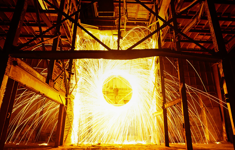 Spinning steel wool in an abandoned warehouse in Fort Myers, FL. This was my favorite spot in my hometown to shoot before they tore it all down. Credit to Rick for climbing the wall and setting me up for this awesome shot.
