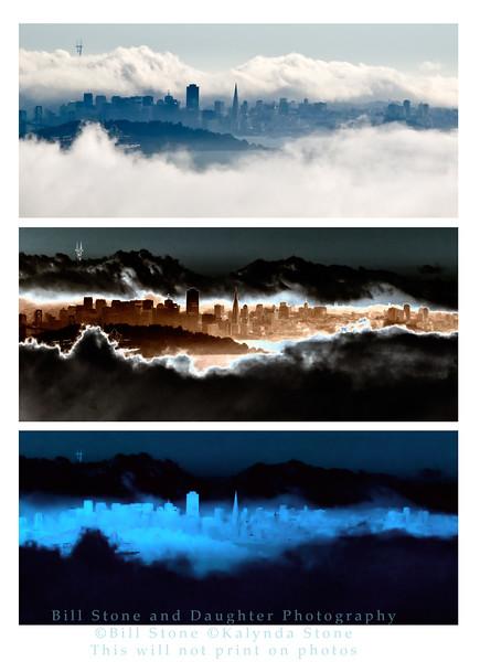 3 treatments of the san francisco skyline
