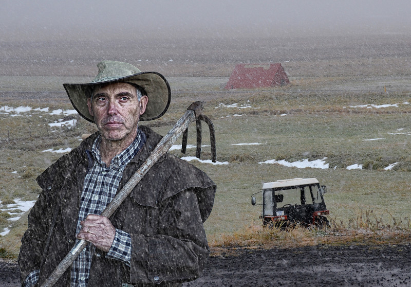 Farmer in the Snow