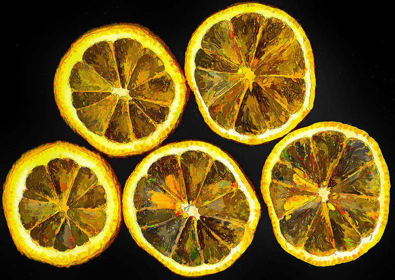 "Lemon Slices<br /> This image of lemon slices has been enhanced with an oil painting filter.<br /> Catalog #122; Print, matted and framed to 16""x20""<br /> <br /> ~ Editor's Pick 
