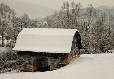 """Winter Wonderland"" A 1930's barn still in use today located in Candler, NC.  Original image enhanced with texture overlays.  ~ Moderator's Weekly Pick 
