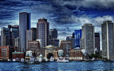 """Boston Harbor"" Boston Harbor and Boston skyline.  Original image enhanced with Nik Software HDR Efex Pro."