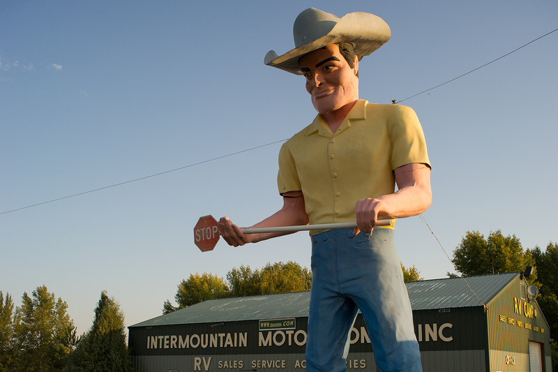 Cowboy man Intermountain Motorhome RV, near Wendell Idaho, off of Highway 84.