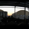 Outdoor gathering area at BIAP - Baghdad International Airport - servicemembers waiting for flights.